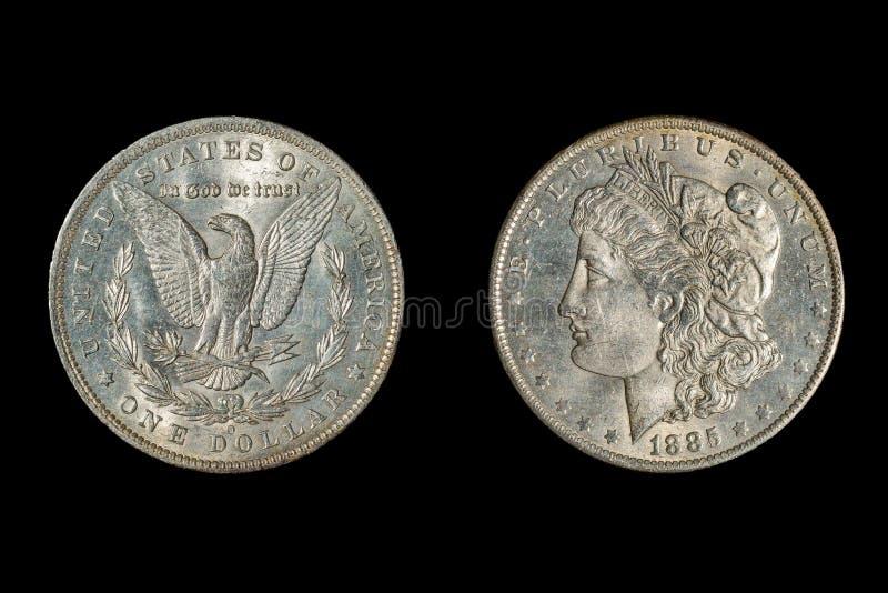 1885 USA Morgan dolar, odizolowywający na czerni obrazy stock