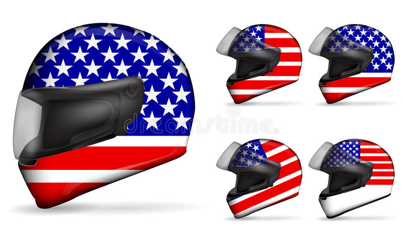Usa motorcycle helmet. Set of usa motorcycle helmet isolated on white background vector illustration