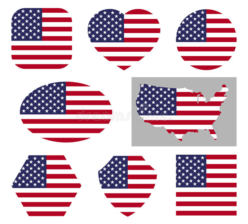 USA national flag icons stock illustration