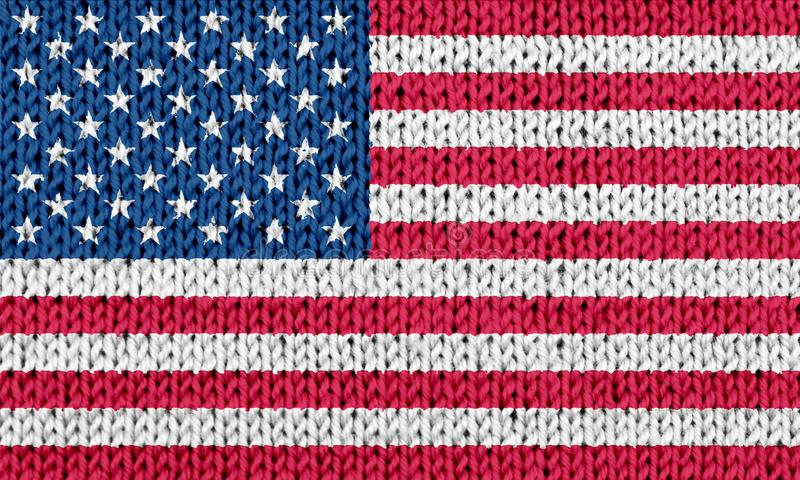 USA national flag on knitted background. Front view of USA national flag blended on white knitted background royalty free stock photos
