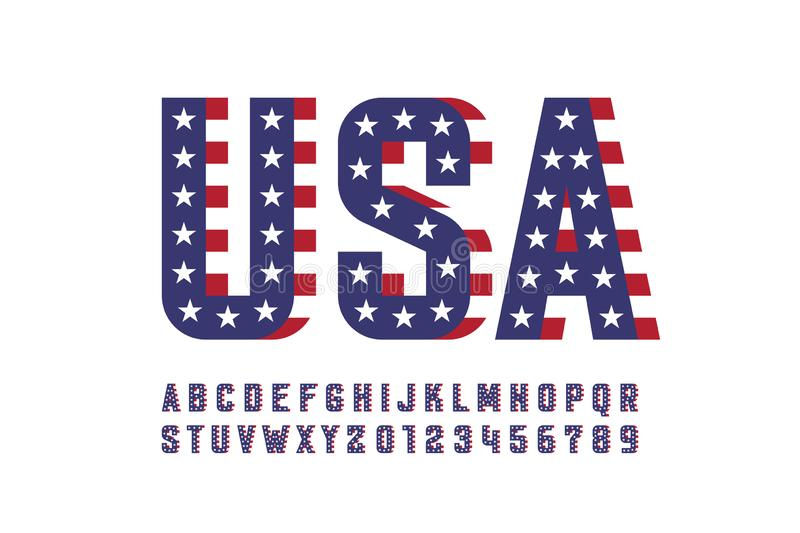 USA national flag style font royalty free illustration