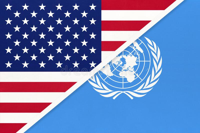USA national flag vs United Nations UN official flag. International community of world. USA national flag vs United Nations UN official flag. Sign of the royalty free stock photo
