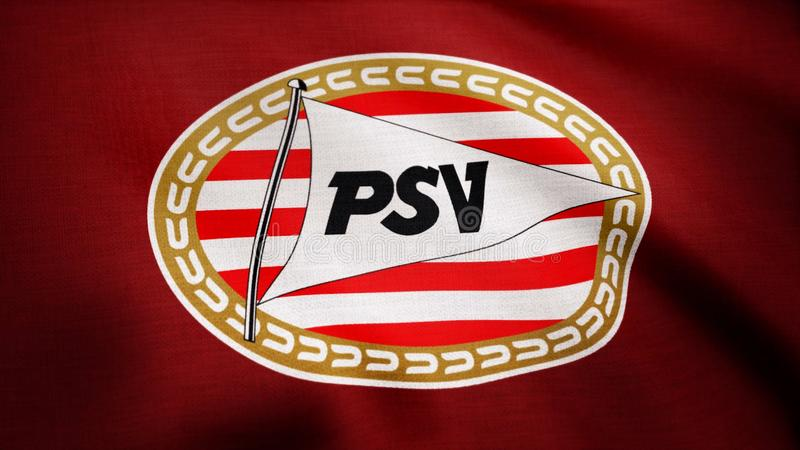 USA - NEW YORK, 12 Augusti 2018: Eindhoven Nederland- animerade logo av PSV Eindhoven för den Nederland fotbollklubban ledare royaltyfria bilder