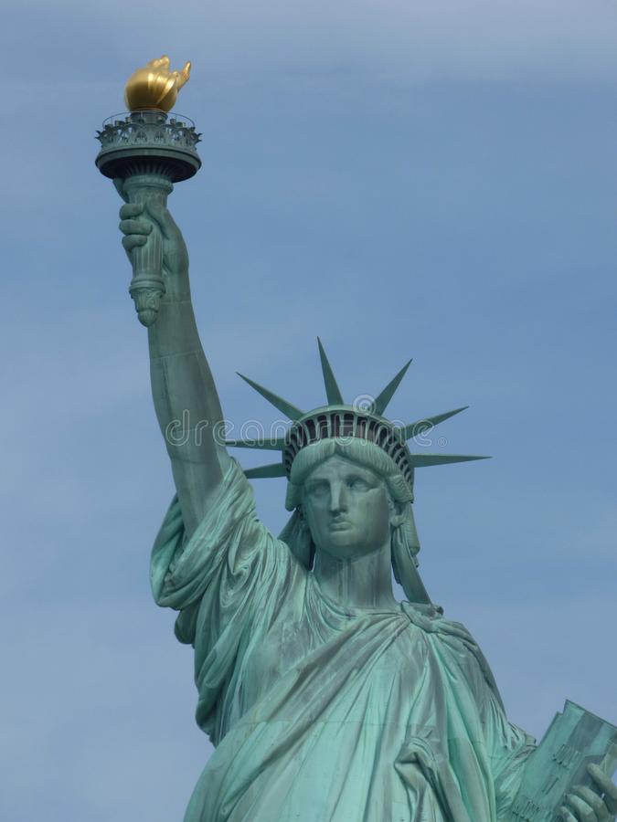 USA New York city liberty newyork statue sunset royaltyfria foton