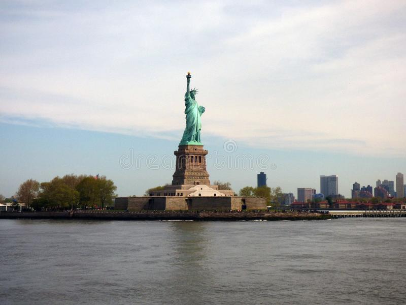 USA New York city liberty newyork statue sunset royaltyfria bilder