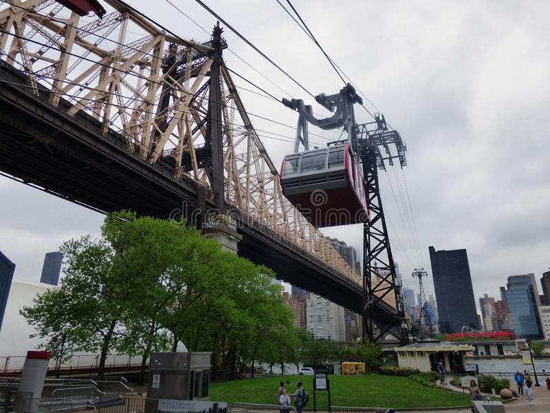 USA. New-York. Rodway Roosevelt Island. This connection between Manhattan and Roosevelt Island exists since 1976. The crossing lasts 3 minutes for a length of 1 royalty free stock photos