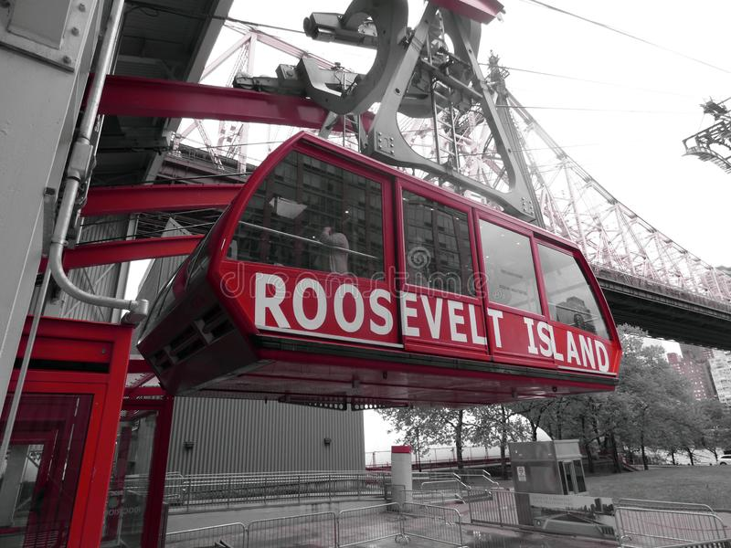 USA. New-York. Rodway Roosevelt Island. This connection between Manhattan and Roosevelt Island exists since 1976. The crossing lasts 3 minutes for a length of 1 royalty free stock images