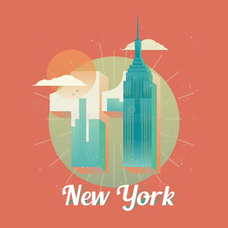 USA New York twin towers, world trade center. New York twin towers or skyscraper, world trade center in form of 11 or eleven. United states of America or USA royalty free illustration