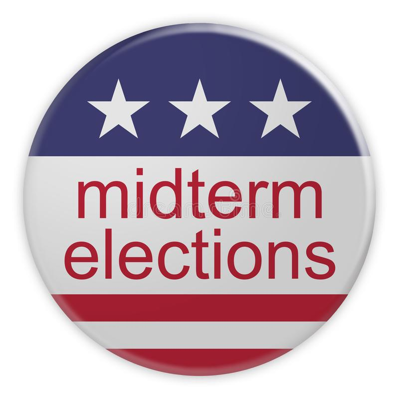 USA News Badge: Midterm Elections Button With US Flag, 3d illustration, Isolated. USA Politics News Badge: Midterm Elections Button With US Flag, 3d illustration royalty free illustration