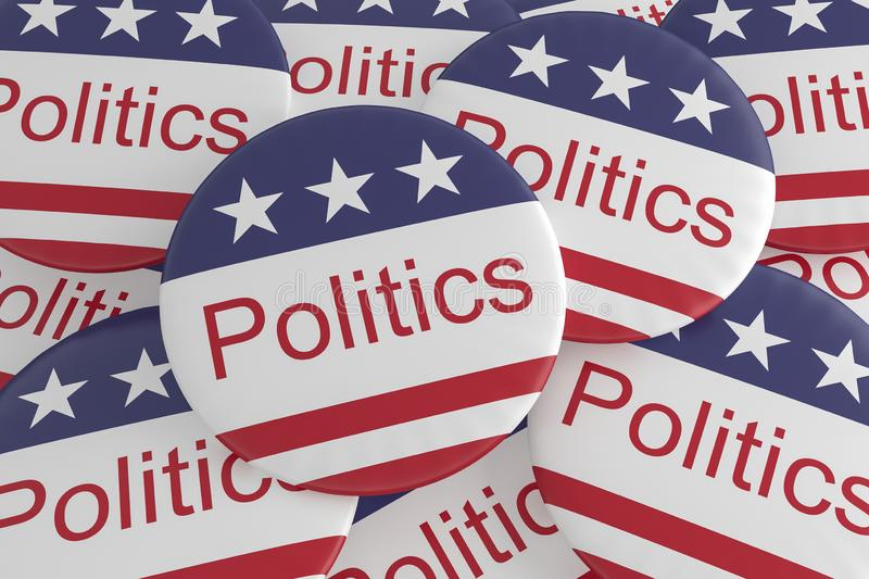 Pile of Politics Buttons With US Flag, 3d illustration. USA News Badges: Pile of Politics Buttons With US Flag, 3d illustration stock illustration