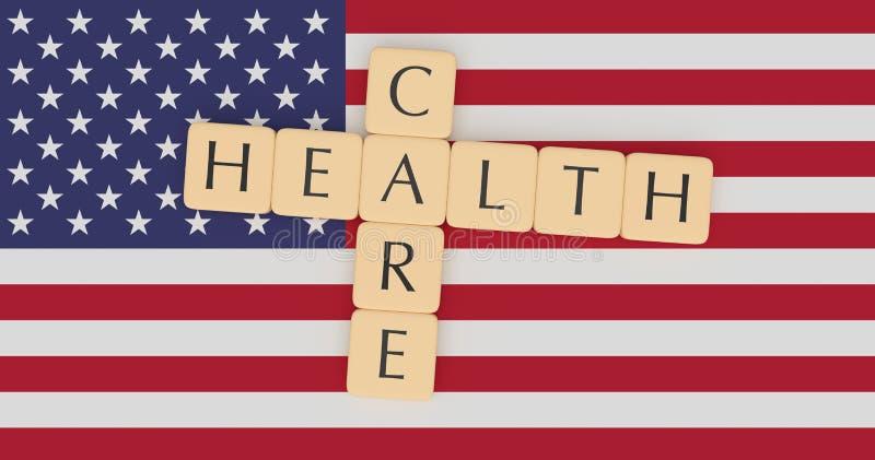 USA News Concept: Letter Tiles Health Care On US Flag, 3d illustration. USA Politics News Concept: Letter Tiles Health Care On US Flag, 3d illustration stock illustration