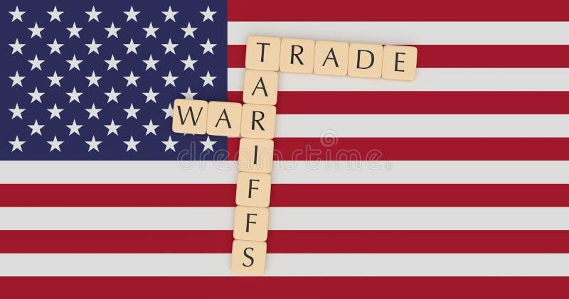 USA News Concept: Letter Tiles Tariffs And Trade War On US Flag, 3d illustration. USA Politics News Concept: Letter Tiles Tariffs And Trade War On US Flag, 3d vector illustration