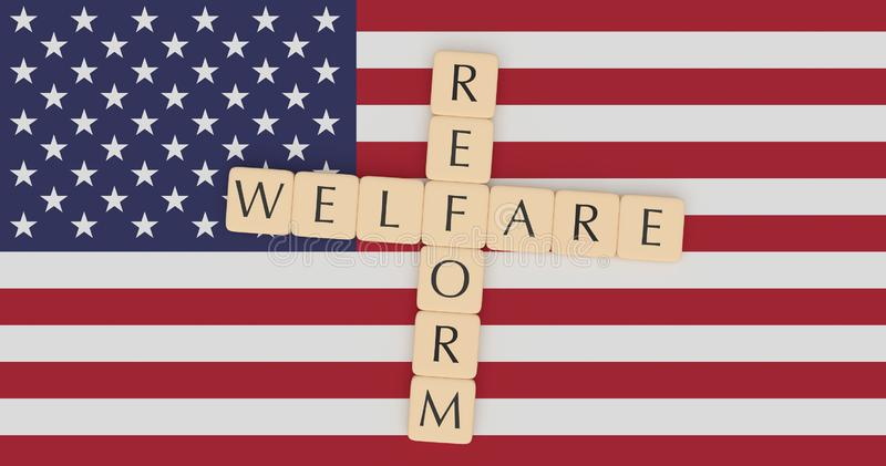 USA News Concept: Letter Tiles Welfare Reform On US Flag, 3d illustration. USA Politics News Concept: Letter Tiles Welfare Reform On US Flag, 3d illustration vector illustration