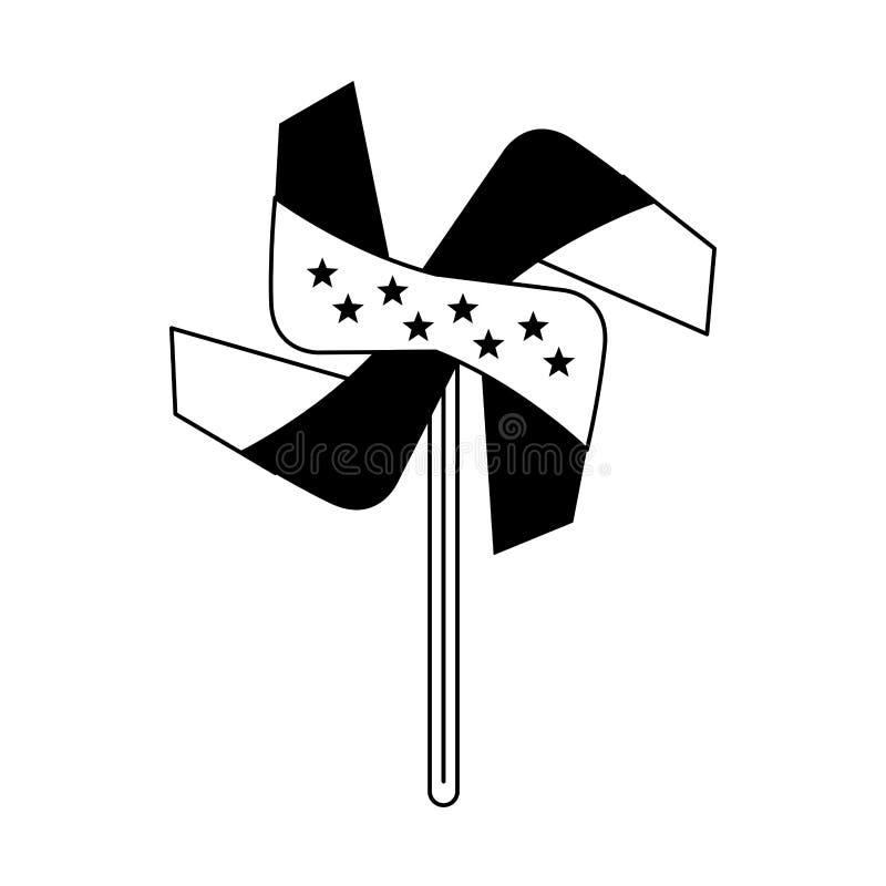 Usa niezależności 4th Lipa kreskówka w czarny i biały ilustracji