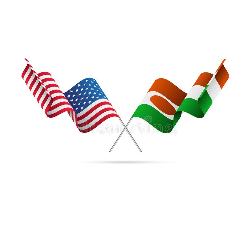 USA and Niger flags. Vector illustration. royalty free illustration