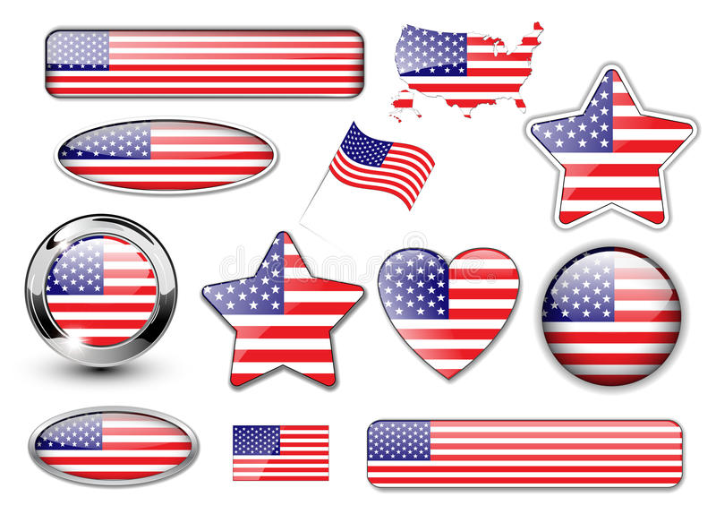 USA, nordamerikanische Markierungsfahne knöpft große Ansammlung vektor abbildung