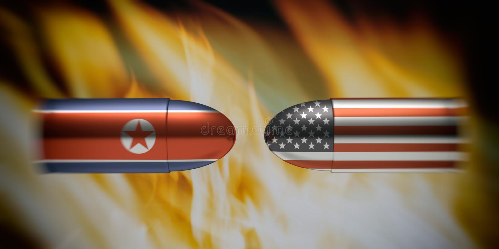 North Korean and American flags on bullets, fire flames background. 3d illustration stock illustration