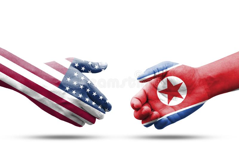 USA and North Korea flag print screen on handshake with white background.USA and North Korea have many conflict such as nuclear. And sanctions royalty free stock photography