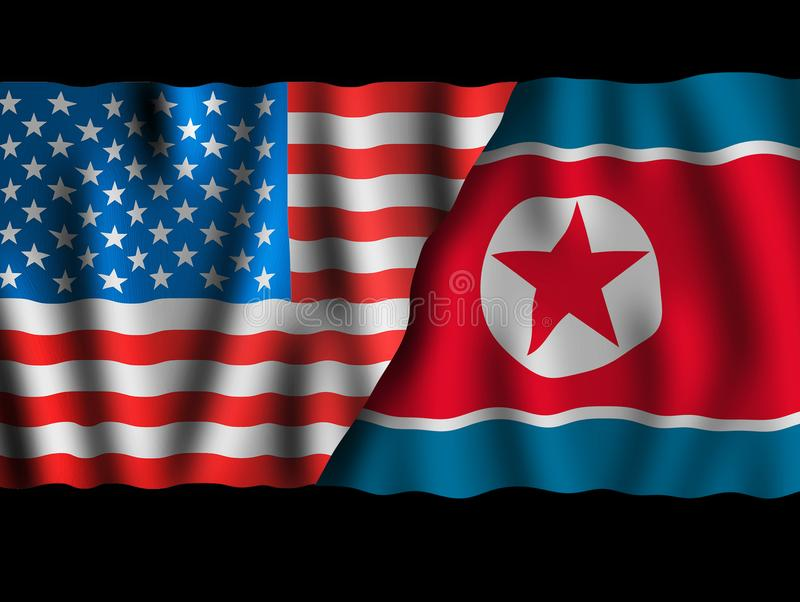 USA and North Korea. Waving flags of the United States of America and North Korea together on dramatic black. Background vector illustration