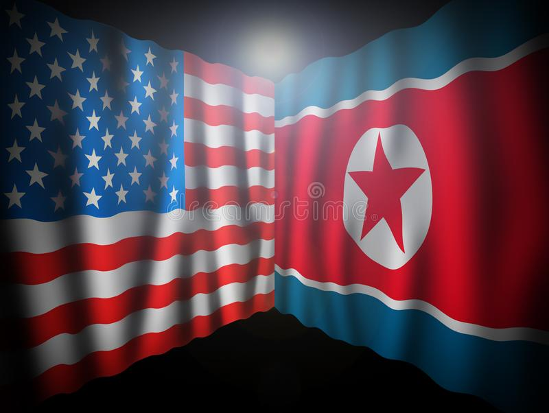 USA and North Korea. Waving perspective flags of the United States of America and North Korea together on dramatic black. Background with lightning effect vector illustration
