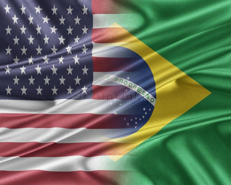 USA och Brasilien royaltyfri illustrationer
