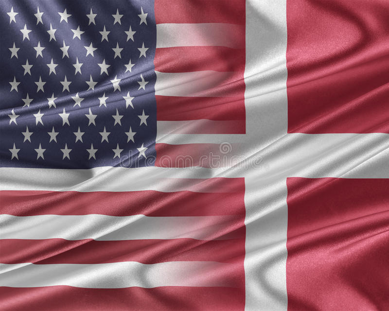 USA och Danmark stock illustrationer