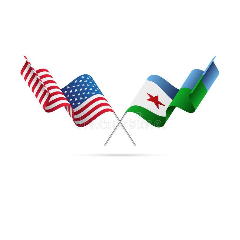 USA och Djibouti flaggor också vektor för coreldrawillustration royaltyfri illustrationer