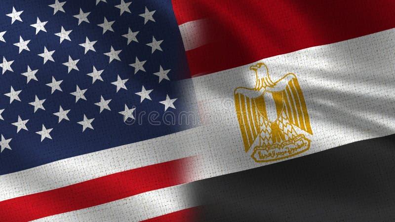 USA och Egypten realistiska halvaflaggor tillsammans vektor illustrationer