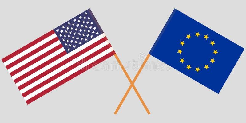 USA och EU E Officiella färger Korrigera proportionen vektor vektor illustrationer