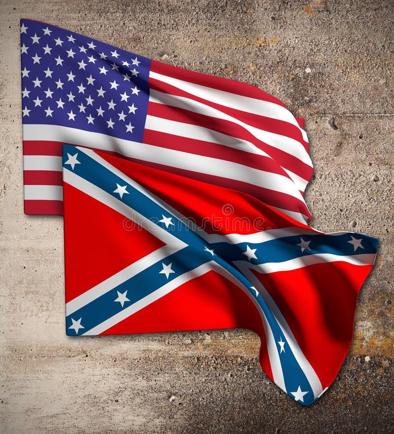 USA och förbundsmedlemflagga royaltyfri illustrationer
