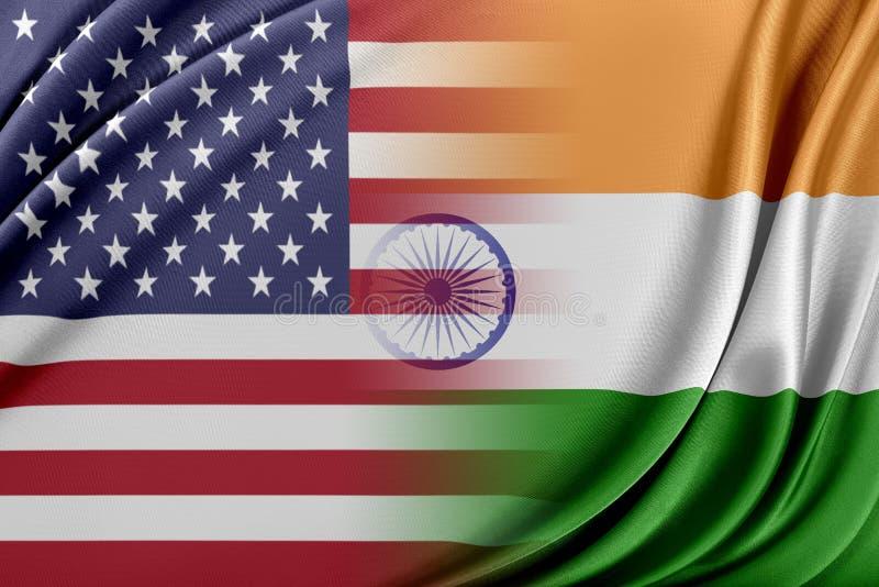 USA och Indien royaltyfri illustrationer
