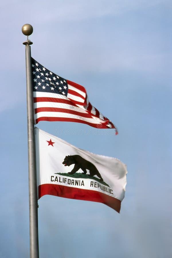 USA och Kalifornien flagga arkivfoto