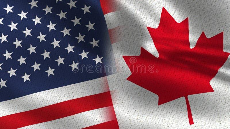 USA och Kanada realistiska halvaflaggor tillsammans vektor illustrationer