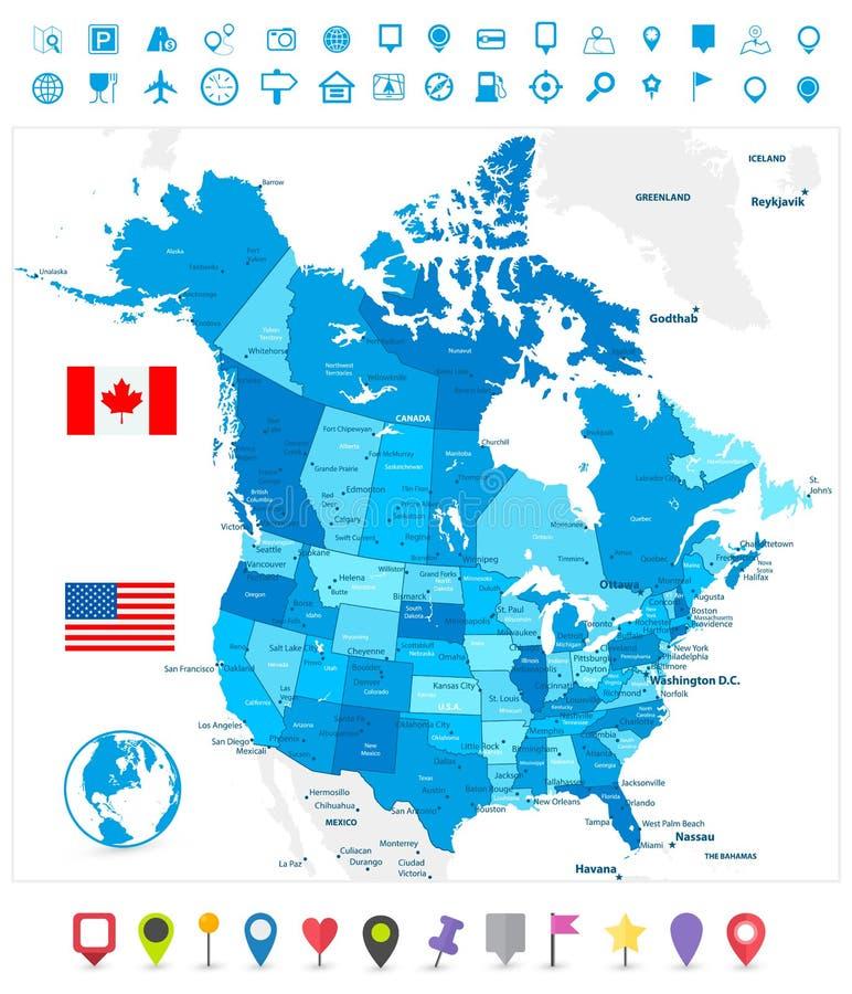 USA och Kanada stor detaljerad politisk översikt i färger av blått royaltyfri illustrationer