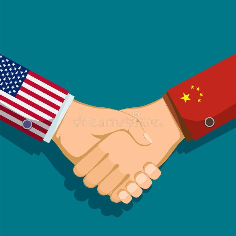 USA och Kina stock illustrationer