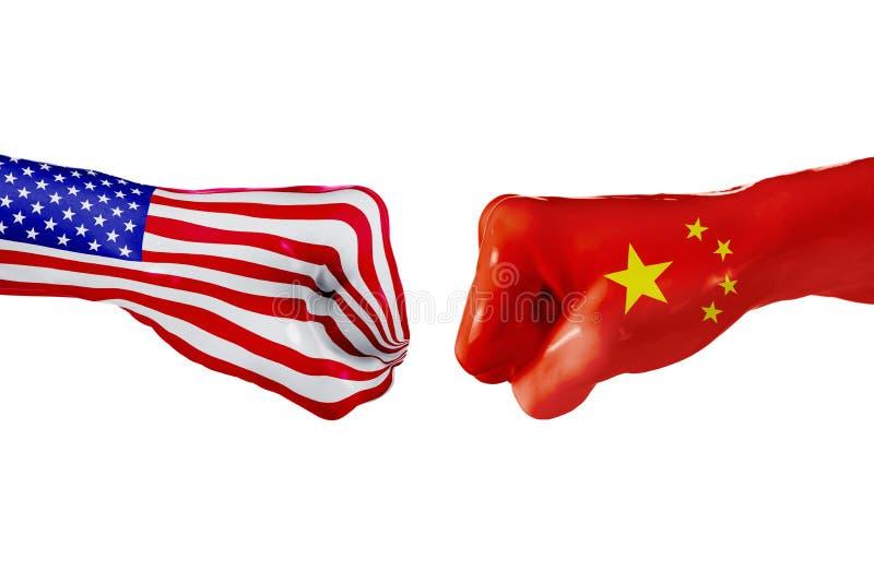 USA och Kina flagga Begreppskamp, affärskonkurrens, konflikt eller sportsliga händelser arkivbilder