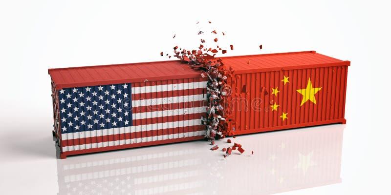 USA och Kina handelkrig USA av Amerika och för kines flaggor kraschade behållare som isoleras på vit bakgrund stock illustrationer