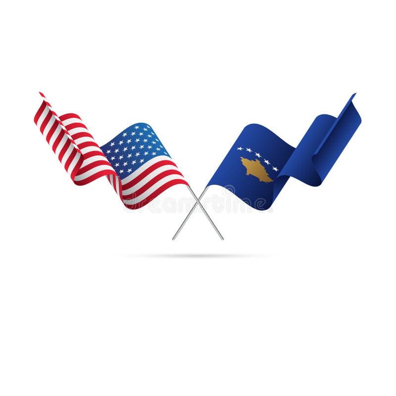 USA och Kosovo flaggor också vektor för coreldrawillustration royaltyfri illustrationer