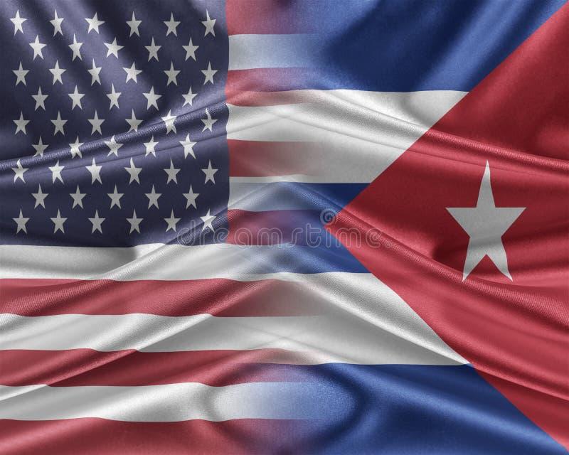 USA och Kuba stock illustrationer