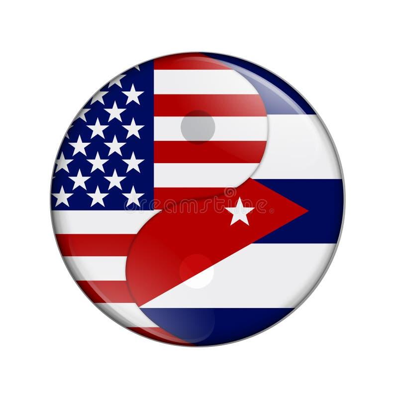USA och Kubaarbete tillsammans royaltyfri illustrationer
