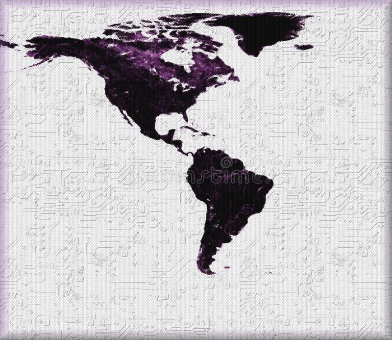 USA och Latinamerikaöversikt på teknologisk bakgrund Grundläggande NASA för bildvärldskartaartighet för dublin för bilstadsbegrep royaltyfri illustrationer