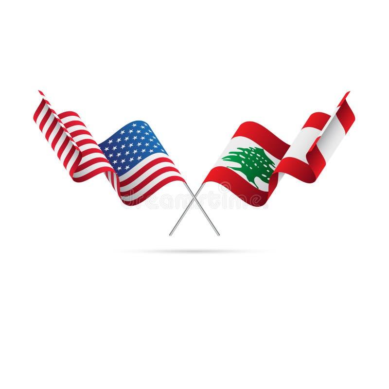 USA och Libanon flaggor också vektor för coreldrawillustration vektor illustrationer