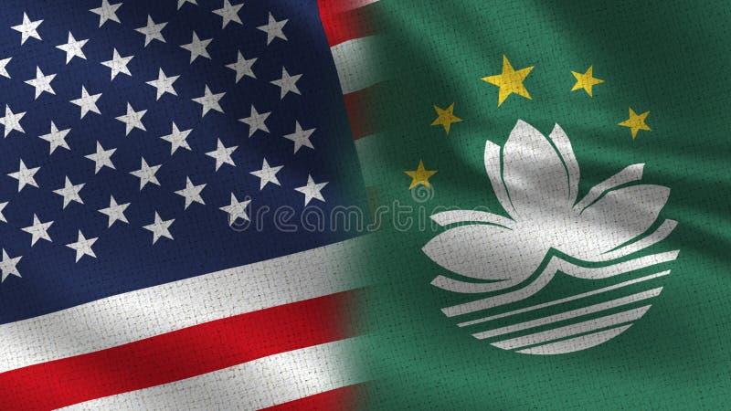 USA och Macao realistiska halvaflaggor tillsammans royaltyfri illustrationer