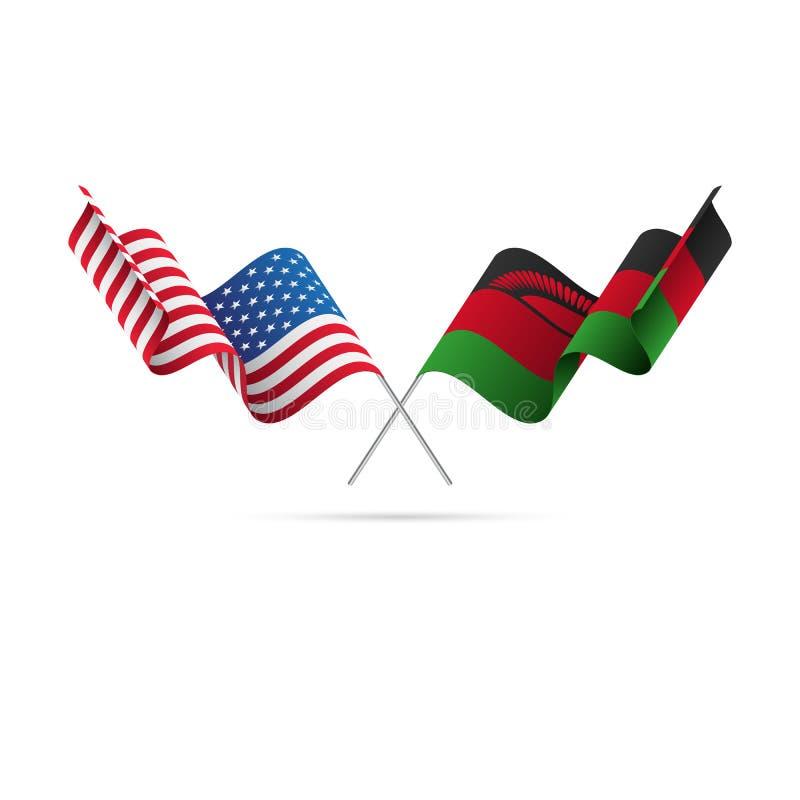 USA och Malawi flaggor också vektor för coreldrawillustration vektor illustrationer
