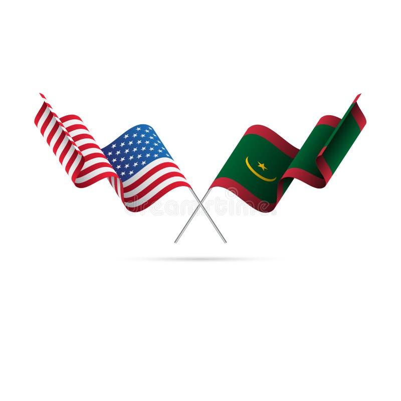 USA och Mauretanien flaggor också vektor för coreldrawillustration stock illustrationer