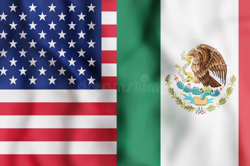 USA och Mexico flaggor vektor illustrationer