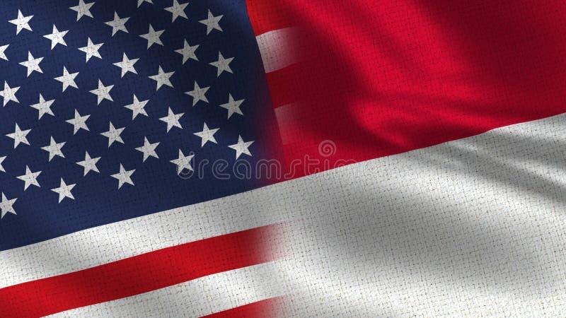 USA och Monaco realistiska halvaflaggor tillsammans royaltyfria bilder
