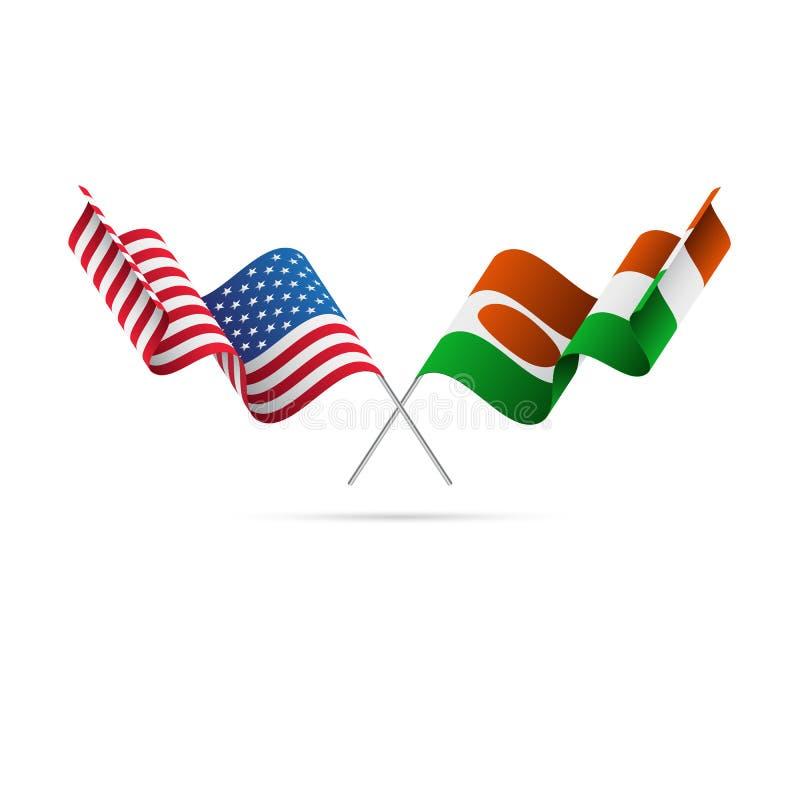 USA och Niger flaggor också vektor för coreldrawillustration royaltyfri illustrationer