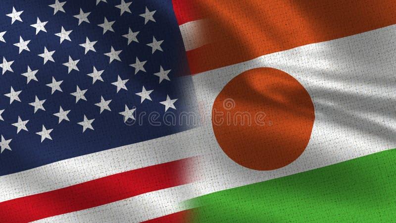 USA och Niger Realistic Half Flags Together royaltyfria foton