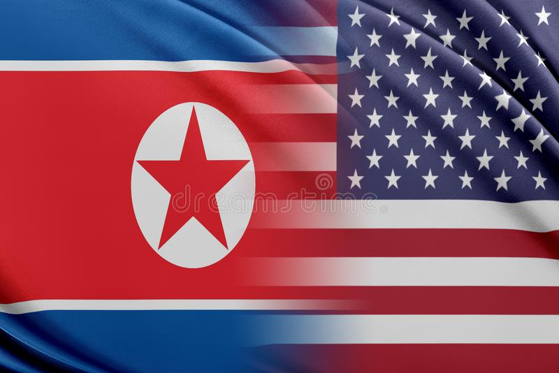 USA och Nordkorea stock illustrationer